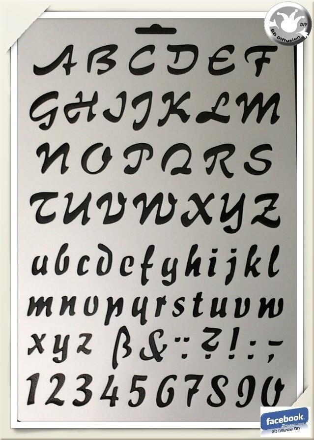 Pochoir Alphabet & chiffres format A4 lavable