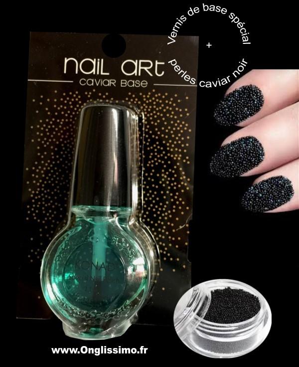 Vernis caviar noir 3D et base coat