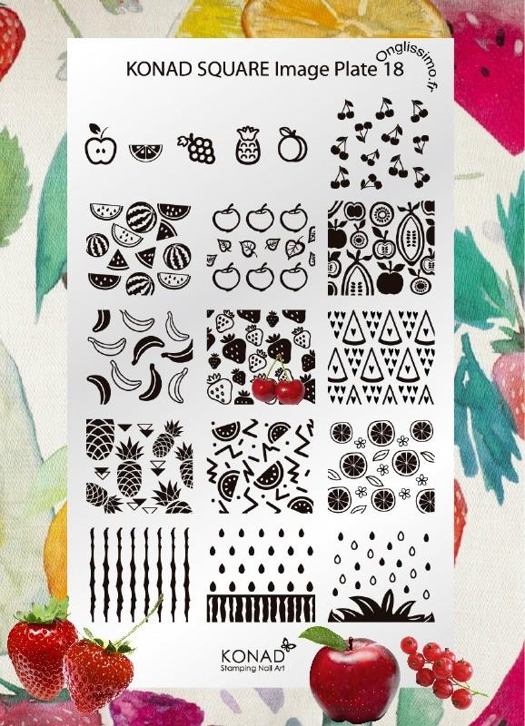 Plaque Konad Stamping SQ18 tutti frutti