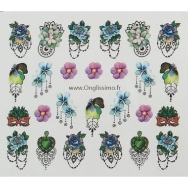 Water Decal fleurs masque pour ongles