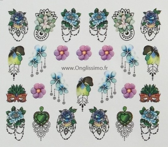 Water Decal fleurs & masque pour ongles