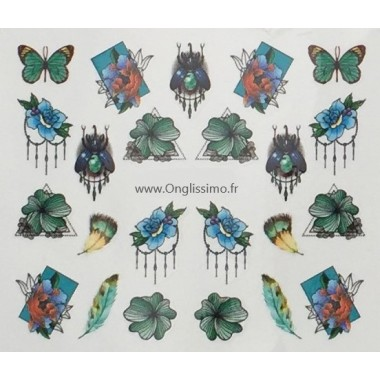 Water Decal papillon bleu plume pour ongles