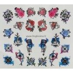 Water Decal Rose pink blue pour ongles