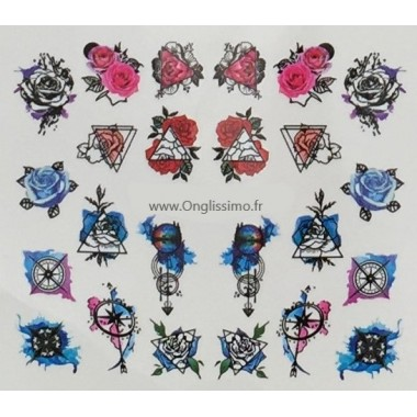 Water Decal Roses pink blue pour ongles
