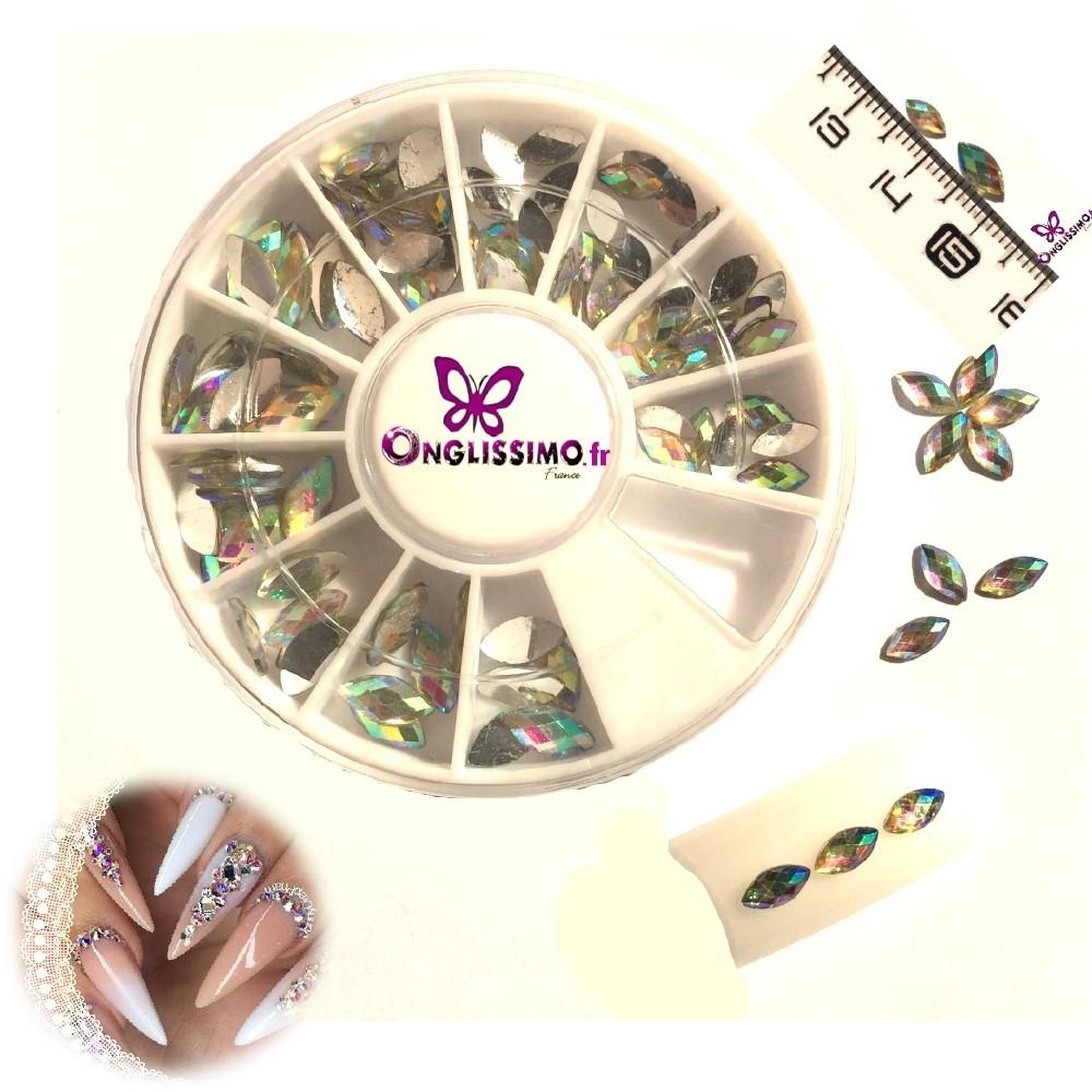 Strass 3D cristal ovale x 98 Aurore Boréale