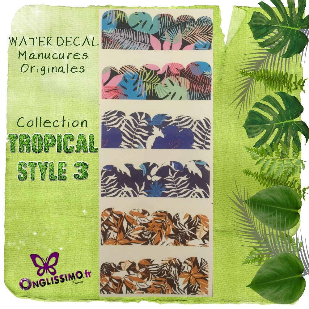 Water Decal Tropical 3 pour nail art