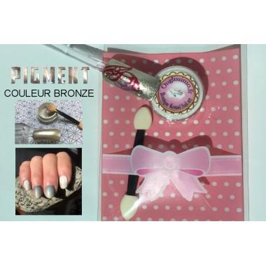 Poudre pigment bronze ongles nail art