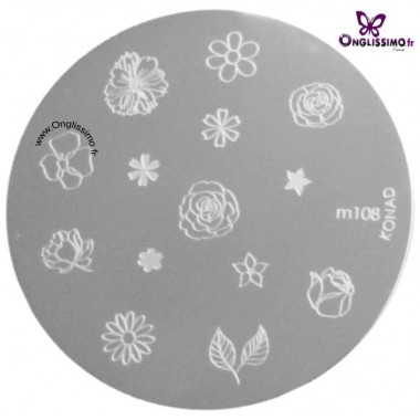 Plaque Stamping Konad M108 nail art Onglissimo France
