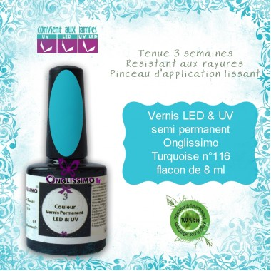 Vernis semi Permanent Onglissimo turquoise 116