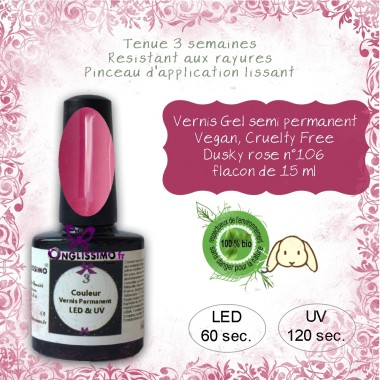 Vernis semi Permanent Vegan 106 Dusky rose