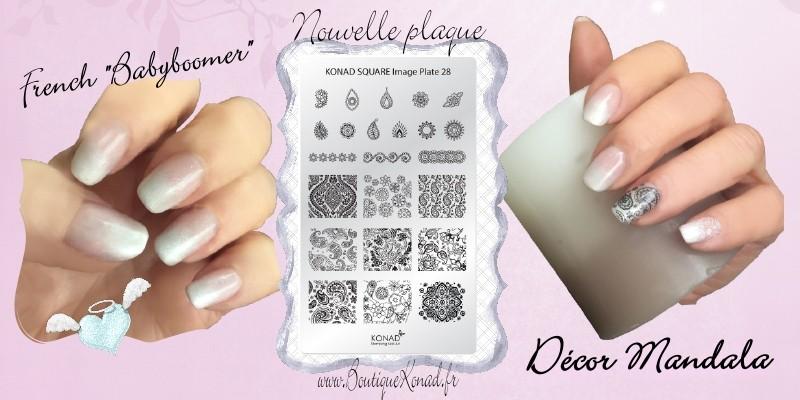 Stamping mandala ongle vernis permanent effet babyboomer